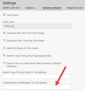 setup bounce notification address