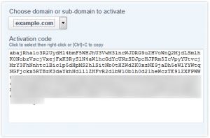domain activation code