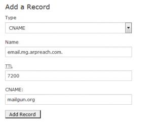 create cname record for mailgun