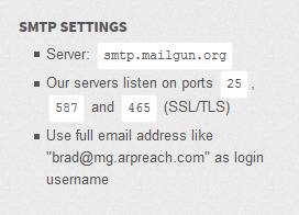 mailgun smtp listening ports