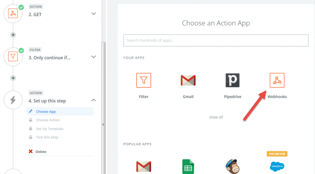 action webhook select