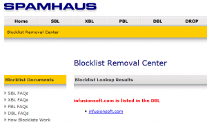 infusionsoft blacklisted by spamhaus aug-2016